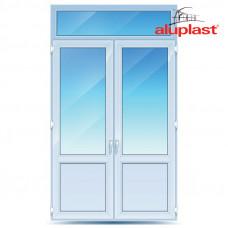 Двухстворчатые двери с фрамугой  Aluplast