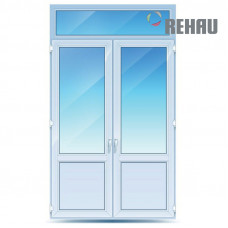 Двухстворчатые двери с фрамугой Rehau