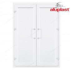 Двухстворчатые двери Aluplast без остекления и перегородки