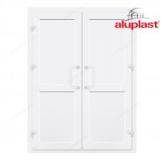 Двухстворчатые двери Aluplast без остекления с перегородкой