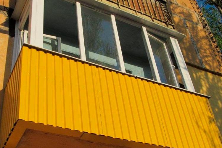 обшивка профнастилом балкона